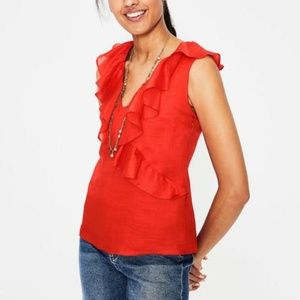 Boden Red Ruffle Alicia Sleeveless Blouse